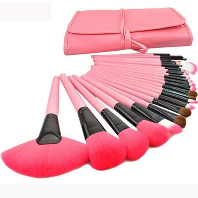 Liplasting 24Pcs Professional Cosmetic Make Up Pink Makeup Brushes Set Blusher Kabuki
