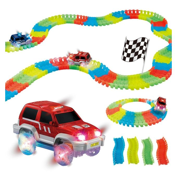 Generic Children's Magic Tracks Led Racing Car Assembly Toy 220pcs Race Track + 1pc LED Car - Colorful